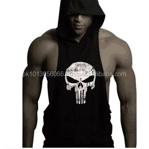 wholesale custom mens plain gym stringer sleeveless hoodie