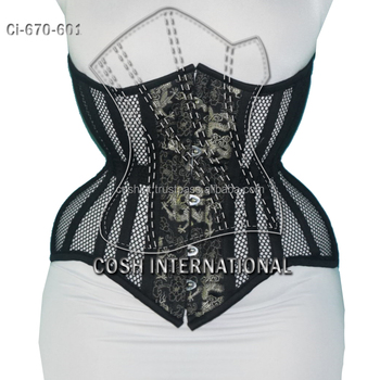 Mesh Corsets Made Of 24 Steel Boned Brocade And Cotton, Waist Training Corsets Supplier, 670-601 Style Korsett,