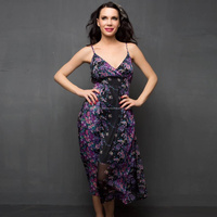 Long Chiffon Floral Printed Dress In Black