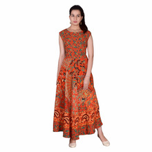 Jaipuri Rayon Printed Long Dresses For Ladies