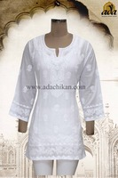 COTTON TOP HAND EMBROIDERED LUCKNOWI CHIKANKARI A84913 BY ADA