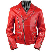 New Style 2016 Men red leather zipper motorcycle jacket