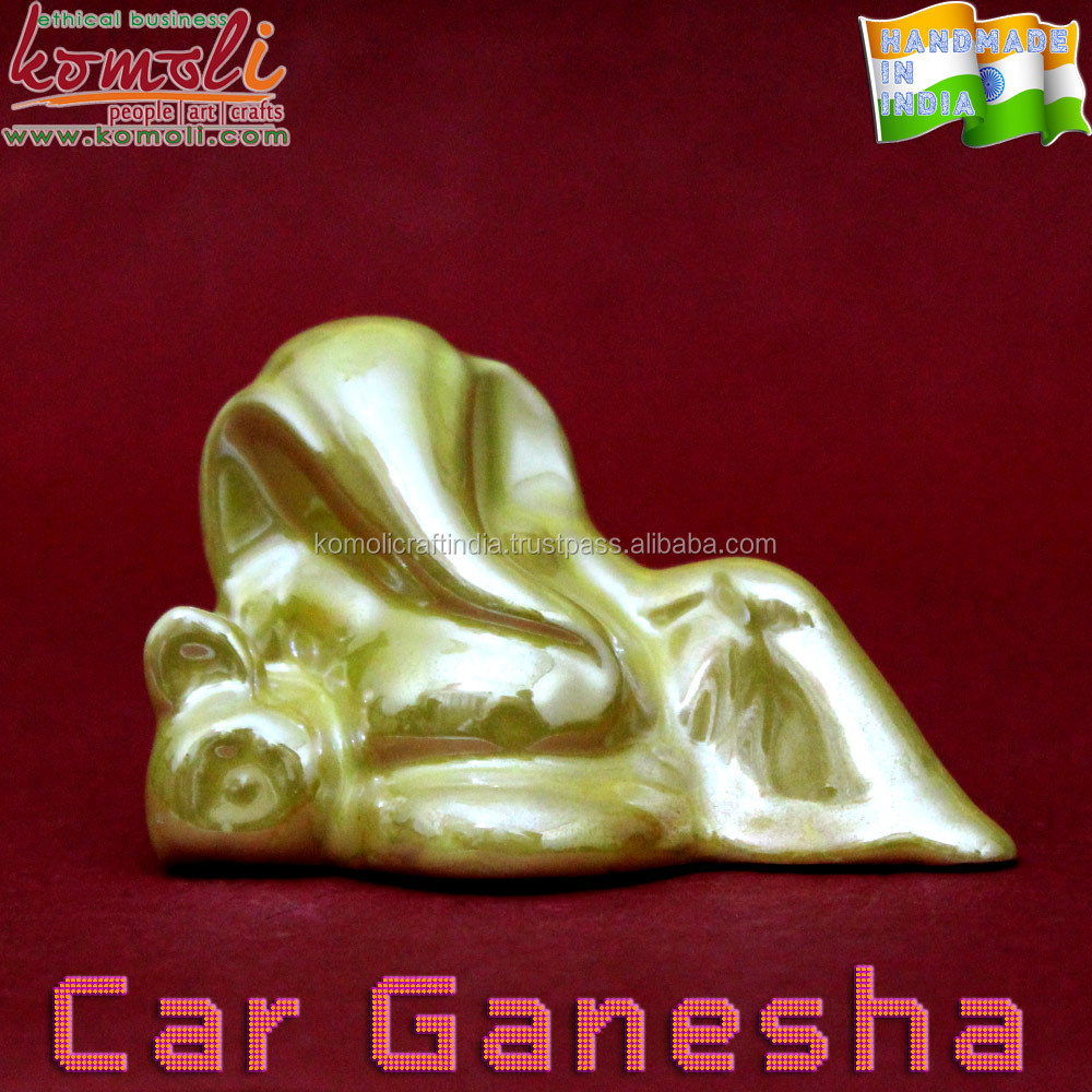 Golden glow ceramic Ganesh gifts for car dashboard ganesha