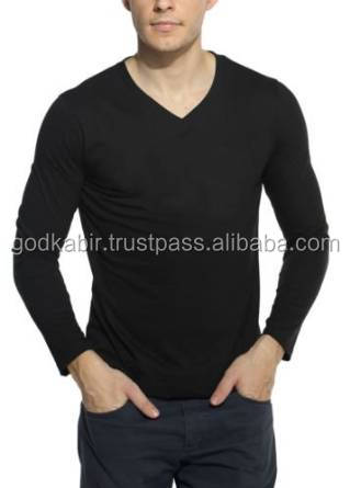 Best shining black colour royal choice of new generation best party use Men's Cotton V-Neck Full Sleeve Black T-shirt.