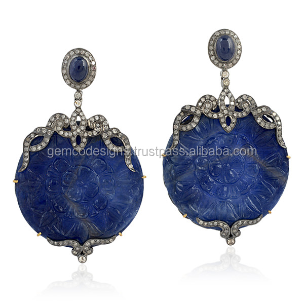 18k Gold 925 Sterling Silver Diamond Carving Blue Sapphire Dangle Earring Jewelry