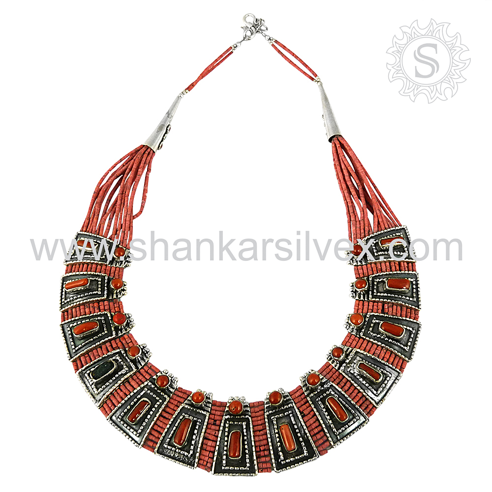 Appreciable Red Coral 925 Sterling Silver Necklace Handmade Indian Silver Jewelry Supplier