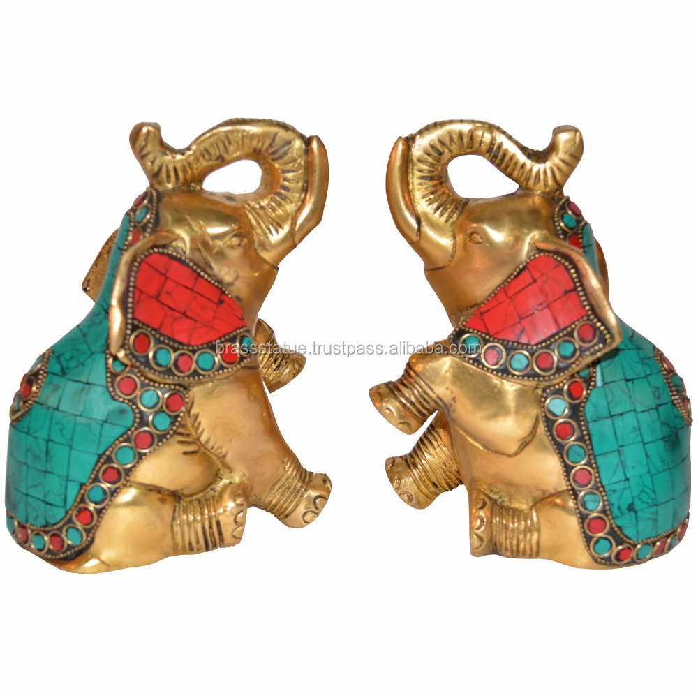 Sculpture Book End of Elephant Turquoise work by Aakrati - Handmade handicrafts table showpiece
