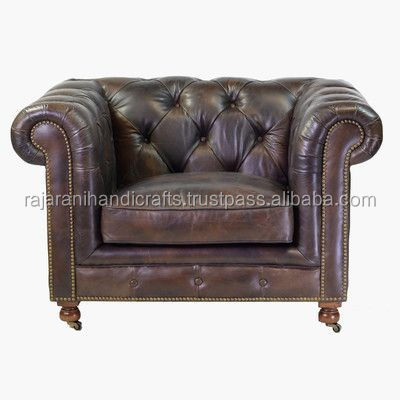 vintage & industrial solid wood & genuine leather sofa