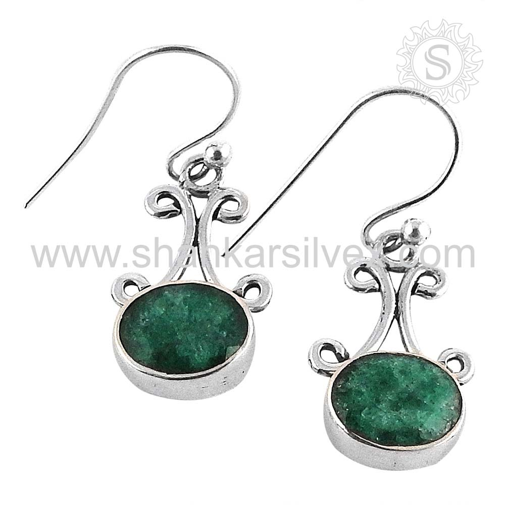 Latest Asian Collection 925 Sterling Silver Green Emerald Earring Wholesaler Handmade Silver Jewelry