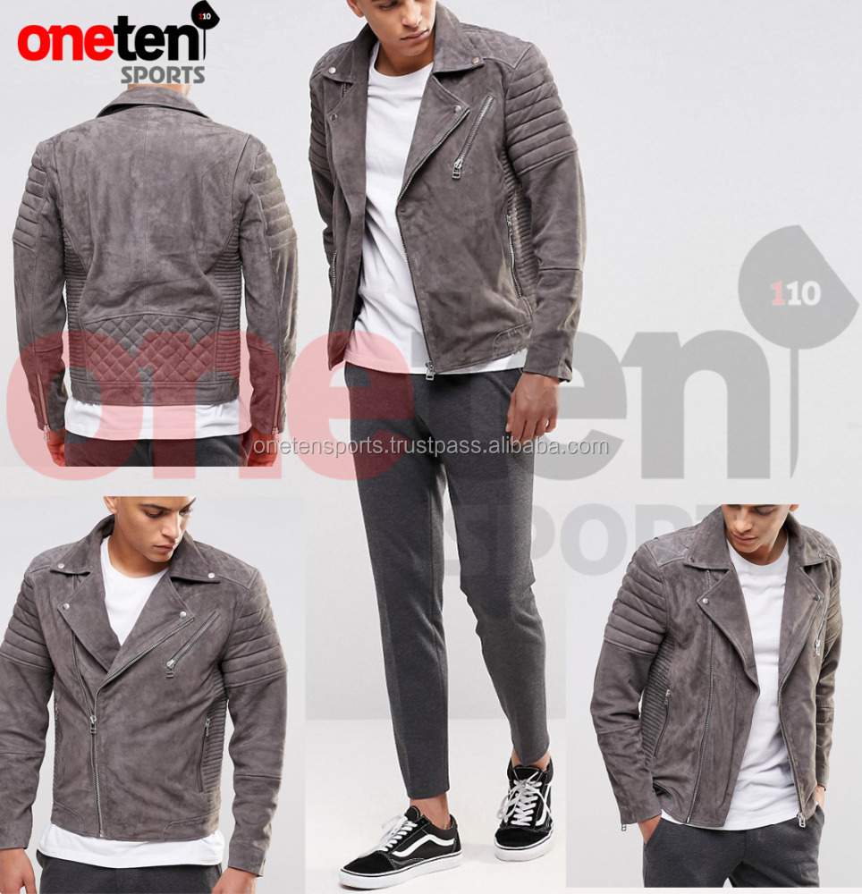 Grey suede leather jacket / leather jacket