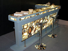 Grey Agate Natural Gemstone Bar & Restaurant Table Top Polished High Quality