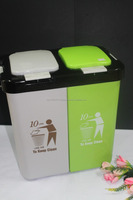 Colourful 2 Compartment 10 liter Plastic Dustbin. Suitable to be used as Office Dustbin, Toilet Dustbin, Sanitary Dustbin