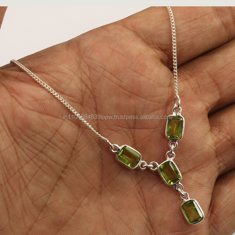 Wholesale Store ! Natural PERIDOT Gemstone Women's Fashion Necklace 925 Sterling Silver Jewellery