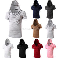 2016 latest Fashion Classic Mens Hooded T-shirt Korean Casual Hoodie Hooded Shirts Short Sleeve /Slim Fit Hooded T-Shirt/100%