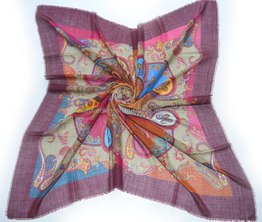 100% Silk Sheer quality Colourfull Multi color Digital Printing square Silk shawls mantillas