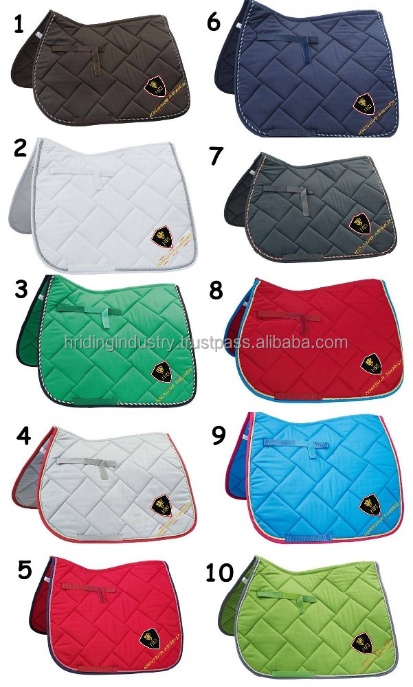 Horse Cotton Saddle Pads / Horse Riding All round Quilted Saddle Pads / Horse Colors Numnah