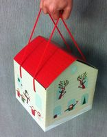 Corrugated cardboard house gift box with cotton handle