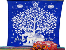 Indian Mandala Tapestry Hippie Wall Hanging Blue Elephant Bohemian Bedspread Dorm Decor