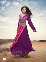 Bridal designer stylish party wear long anarakali full sleeves purple salwar kameez