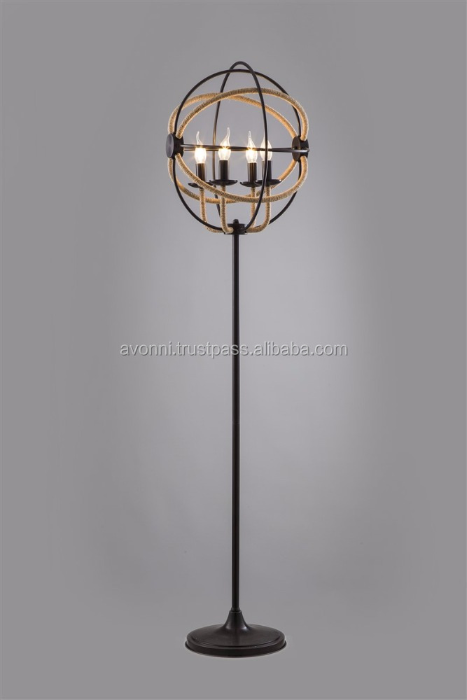 AVONNI Iron Jute Rope Floor Lamp
