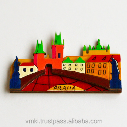 Sovenir fridge magnet with Karlov bridge, magnet souvenir Prague or any city, world city fridge magnets, GH2-10