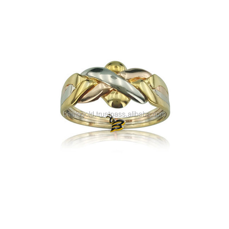 14K Solid Tri Color Gold Turkish 4 Band Wedding Puzzle Ring