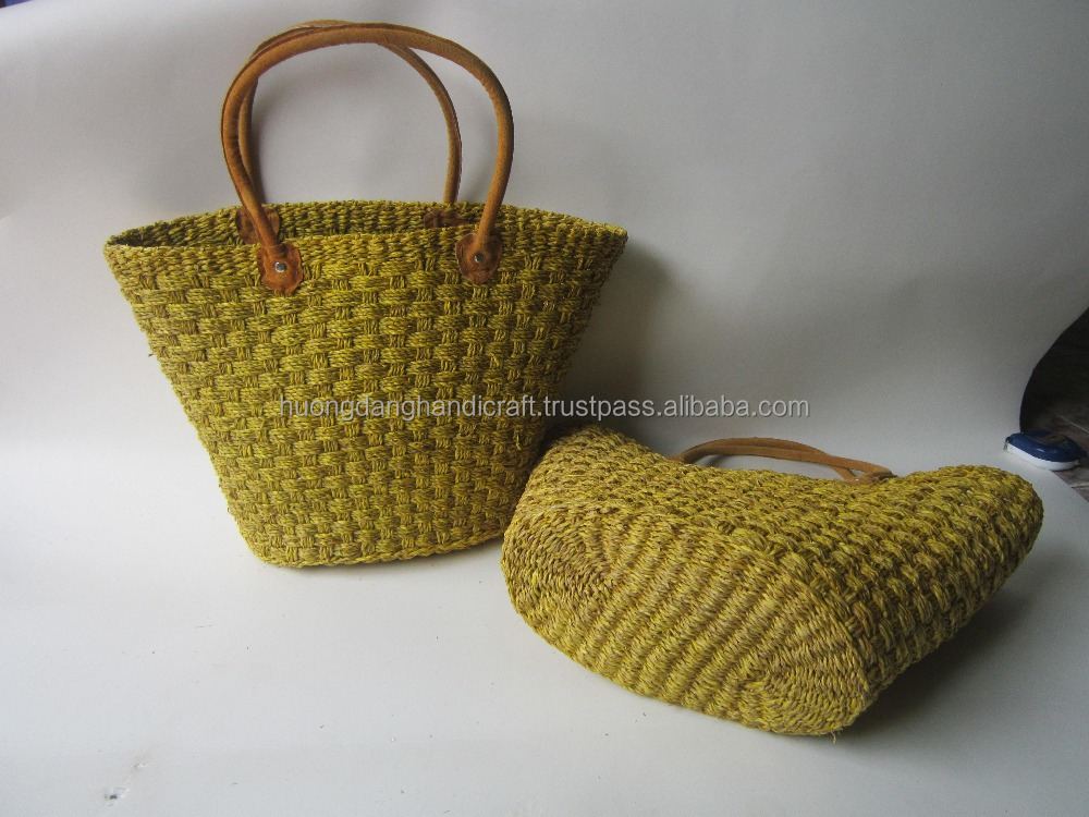 Luxurious color sedge handbag for women, Vietnam eco-friendly sedge bag safe for health
