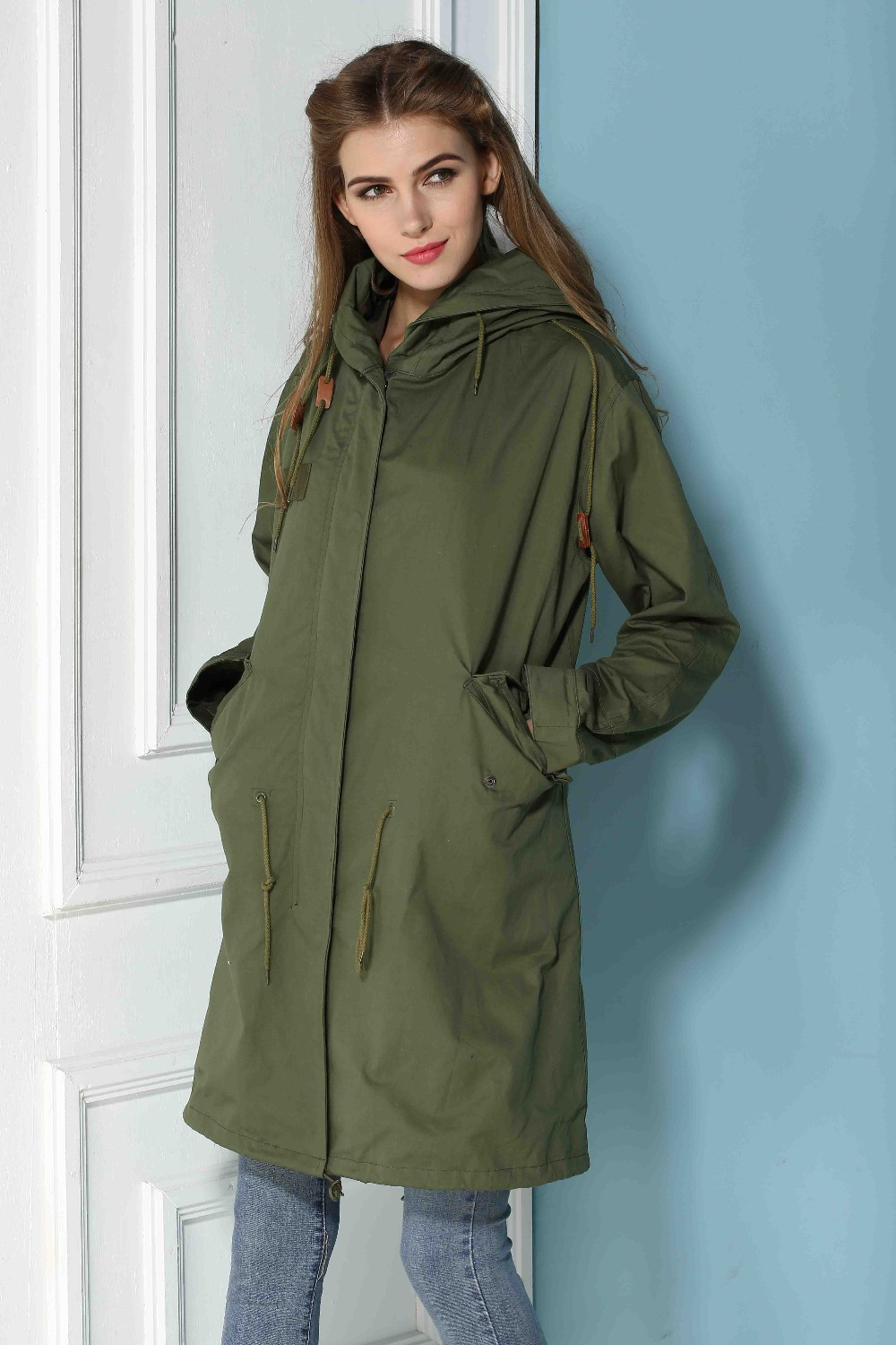 Wholesale long jacket cotton material from china fashion coat manufacturer