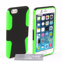 Mesh Tough Hard Case for iPhone 6 Green and Black