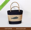 HANDICRAFT SEAGRASS BEACH BAG WITH FISH PATTERN
