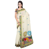 Evoking Cream Colored Embroidered Blended Cotton Saree 233
