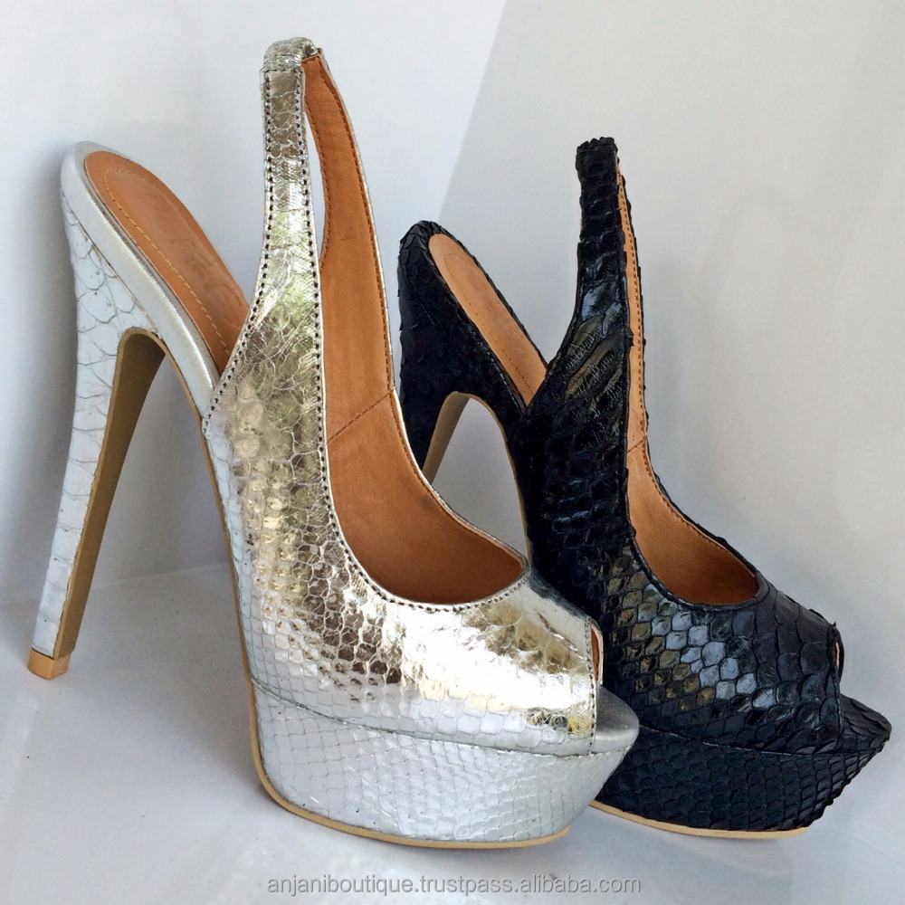 Exotic Python High Heel Strapback Shoes