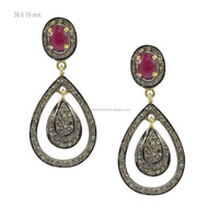 14k Yellow Gold Precious Ruby Pave Diamond Drop Earrings Manufacturer Diamond Gemstone Earrings Jewelry Wholesale Supplier