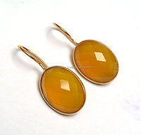 Fashion Jewelry 925 Sterling Silver Yellow Chalcedony Gemstone Oval faceted Handmade Ear Studs