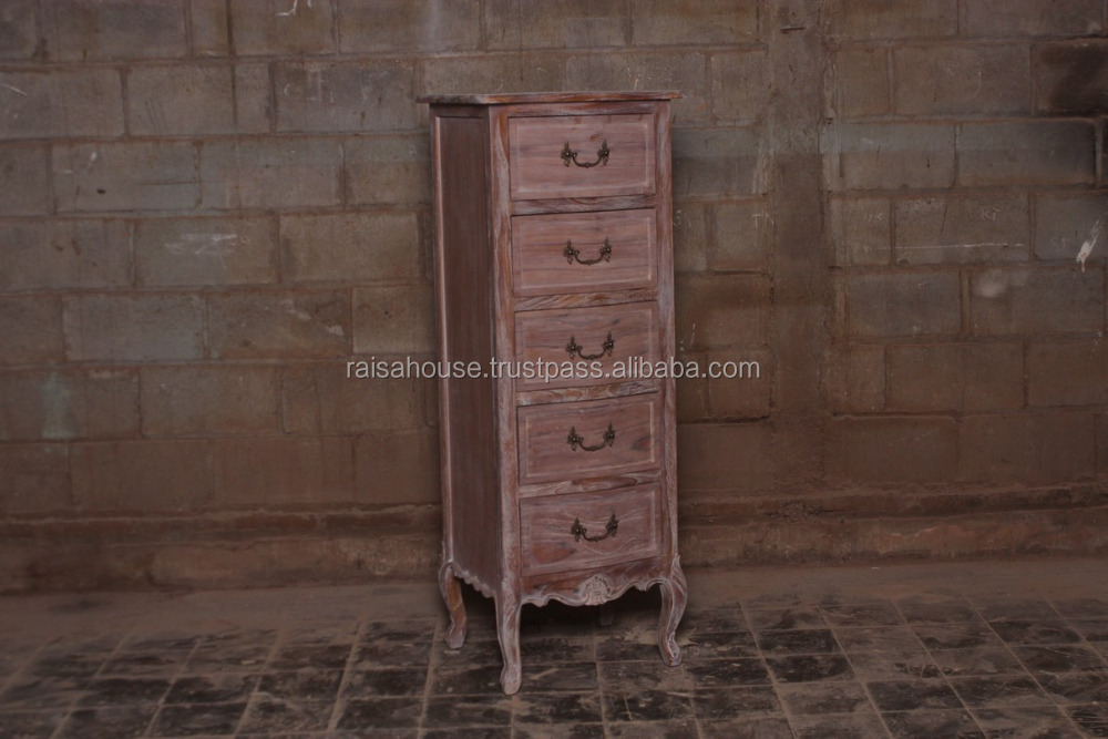 Recycle Reclaimed Teak Furniture - Tallboy Night Stand 5 Drawer Indonesia Furniture
