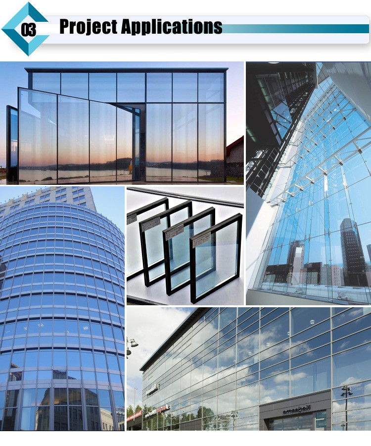 Low E Coated Tempered Insulating Curtain Wall Glass with SGCC