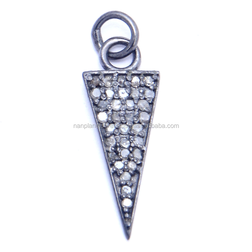 Pave Diamond Oxidized over Sterling Silver Triangle Charm Pendant