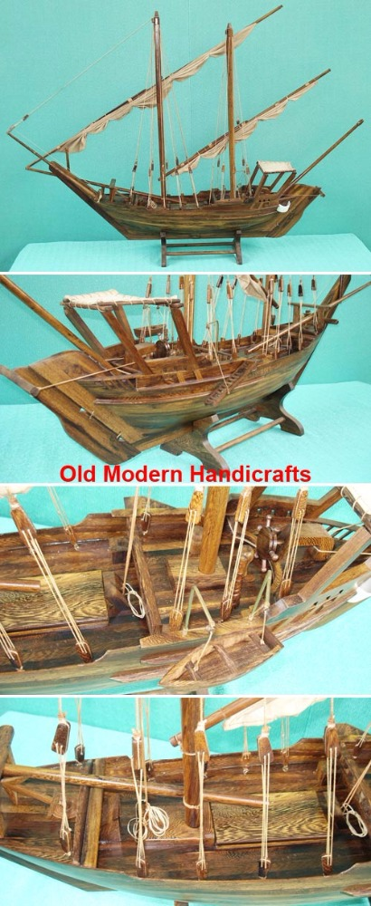 Dhow Large L120 cm - Handmade antique wooden model boat