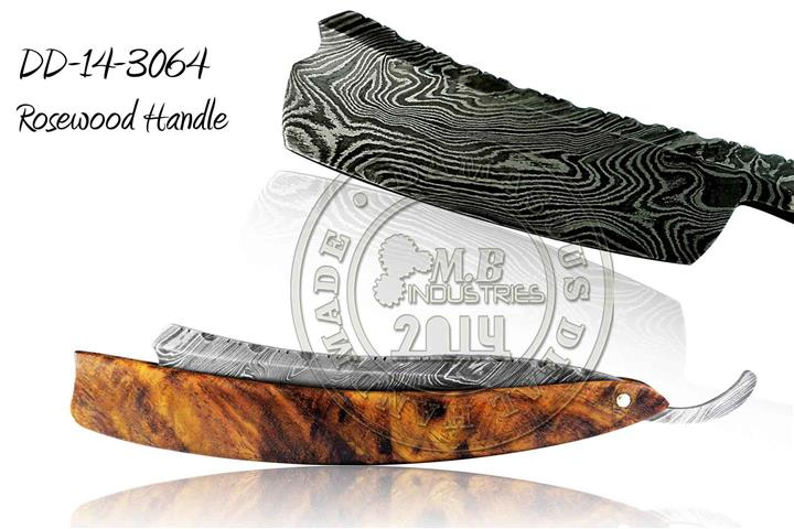 Damascus Steel Straight Razor Olive Wood Handle DD-14-3069
