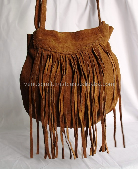 Real Suede Leather Hand Made fringe shoulder bag's for girl's