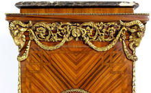 Pair of George III style Neoclassical ormolu-mounted veneer inlaid vase stands on the manner of Robert Adam