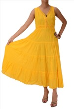 Skirts & Scarves Cotton Embroidered Ankle Length Sleeveless Lace Work Dress For Women (Yellow)