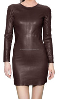 women leather dress/high quality made hot and sexy ladies