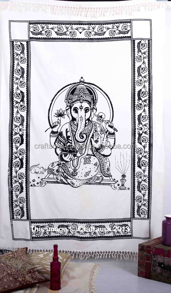 Ganesh Tapestry Wall Hanging 55X85 Inch Bed Sheet Indian God Ganesha Tapestries Twin Fringes Beach Throw Blanket Hippie Ethnic