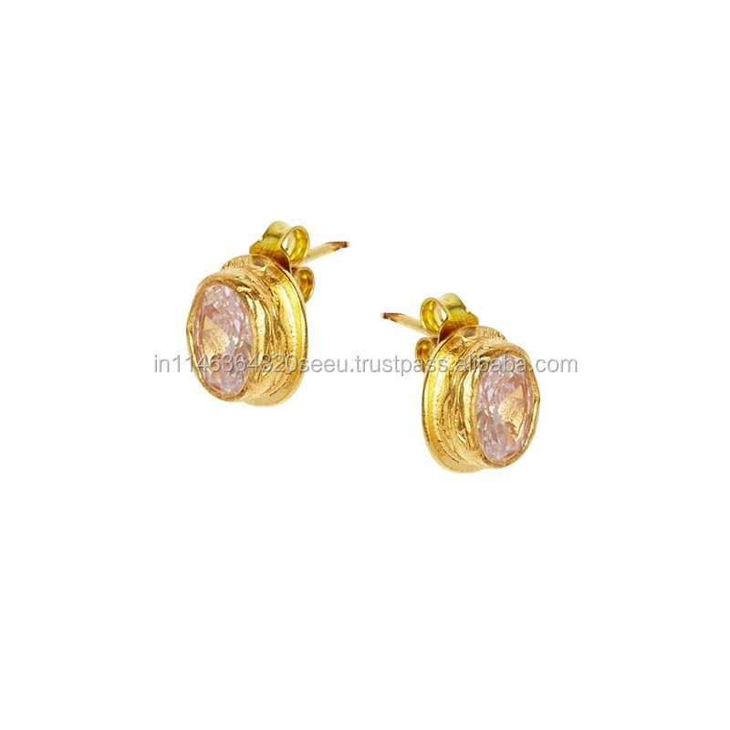 Rose Quartz Micron Gold Plated Small Stud Nice Shape And Designing Stud