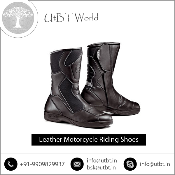 Extra Grip Sole better Stability Control Leather Motorcycle Boots for Low Price