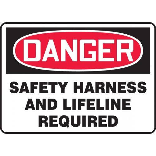 "Accuform MFPR168VS, 18"" x 24"" Adhesive Vinyl Sign: ""Safety Harness and Lifeline Required"""