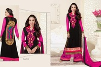 Black & pink colour Embroidered with stone work palazzo type salwar suit