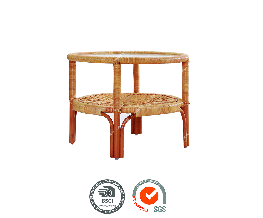 Makasar - coffee table with round glass top