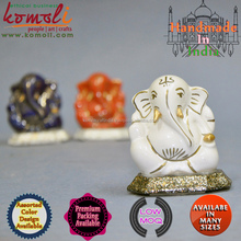 White Goldline Ceramic Indian Handicraft ganesh gifts ganesha in leaf ganesha
